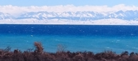Issy Kul is 113 miles long and the second largest mountain lake in the world behind Lake Titicaca. It never freezes as it's slightly saline so looks spectacular against the huge peaks of the TienShan.