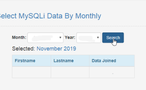 select mysqli data by monthly using php