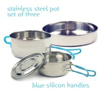 Wealers Stainless Steel 2-3 Person Lightweight Outdoor Camping Hiking Cookware Backpacking Cooking Picnic Bowl Pot Pan Set with Blue Silicon Handles