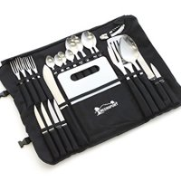 Camp Kitchen Stainless Steel Utensil Set with Canvas Wrap Tote Bag - by Front Runner