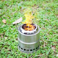 Ohuhu Potable Stainless Steel Wood Burning Camping Stove