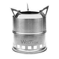 Portable Stainless Steel Wood Burning Camp Stove - Wolfyok(TM) Outdoor Firewood / Wood Camp Stove for Camping, Hunting, Backpacking, Picnic