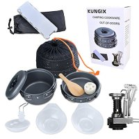Kungix Camping Cookware Mess Kit, Lightweight Portable Compact Aluminium Alloy Cooking Set, Include Pots, Pans, Bowls, Utensils, Stoves and Windshield, 11 Pieces