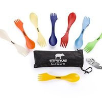Tapirus Spork To Go V8 Set, Eight Sporks + Can & Bottle Opener + Carry Case. Bpa-free Tritan Spoon, Fork & Knife Combo Utensil. Colorful Flatware Set For Camping, Mess Kits, Work, & Outdoor Activities