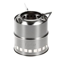 Forfar Camping Stove, Portable Stainless Steel Lightweight Folding Wood Alcohol Stove for Outdoor Cooking BBQ Camping Backpacking