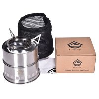 FAMELEY Wood Camping Stove, Folding Lightweight Stoves, Portable Stainless Steel with Nylon Carry Bag for Outdoor Cooking Picnic Backpacking BBQ