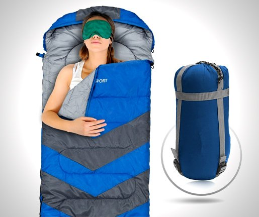 Sleeping Bag - Envelope Lightweight Portable, Waterproof, Comfort With Compression Sack - Great For 4 Season Traveling, Camping, Hiking, & Outdoor Activities