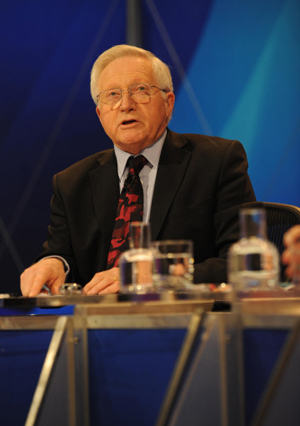 David Dimbleby, best known in the UK for presenting TV coverage of general elections and other major political programmes on the BBC