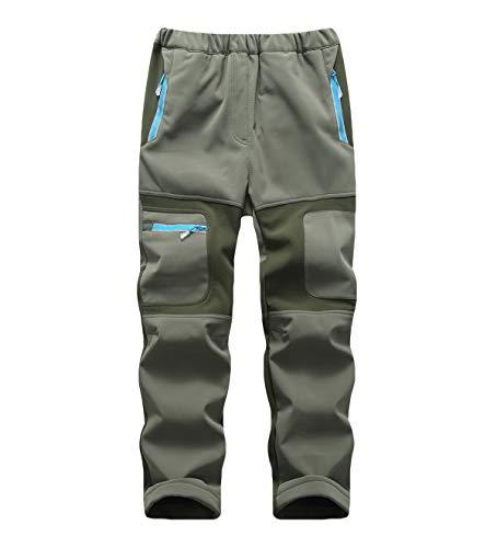 CAMLAKEE Pantalon Randonnée Garçon Fille – Pantalon Trekking Hiver Enfant – Pantalon Softshell Imperméable Doublé Polaire Armée Vert XXXL