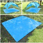 TRIWONDER Tapis de Sol Camping 215 x 215 cm Tarp Ultra Léger Bâche de Tente Anti-Pluie Imperméable Abri de Randonnée pour Pique-Nique Plage (Vert + Accessoires)