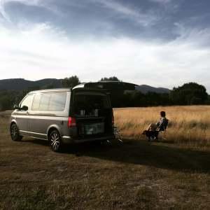 Campervan parked alone
