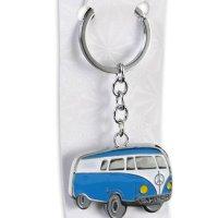 Volkswagen Merchandise - VW Camper Van / Bus - Enameled Metal Keychain / Keyring (Blue)