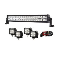 Enk 20 Inch 120W LED Work Light Bar Flood Spot Combo Beam Waterproof for Jeep Off-road SUV Ford Pickup Camper Boat Truck with 4 Pcs 4 Inch 18W Pods and Wiring Harness