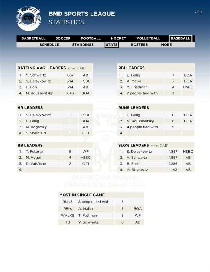 7Leaders Baseball Stats 28 AV