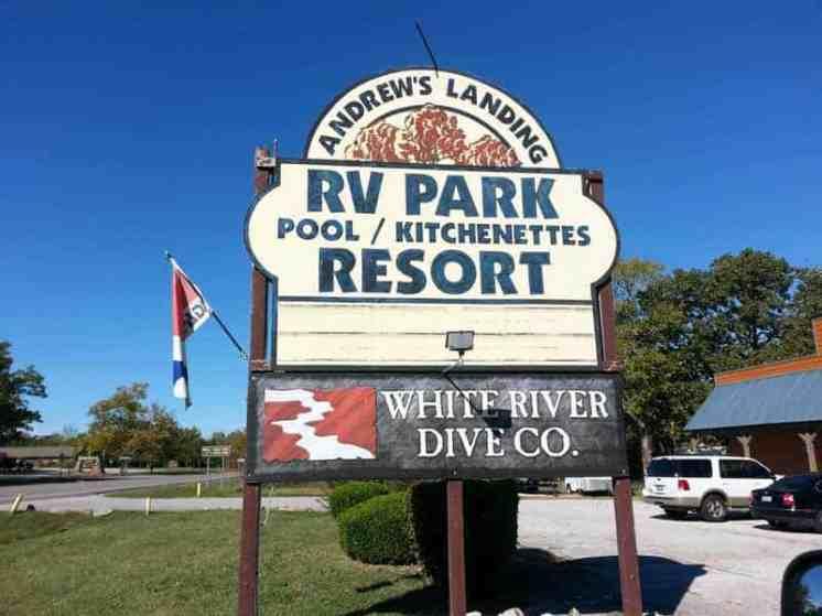 Andrew's Landing RV Park in Branson Missouri Sign