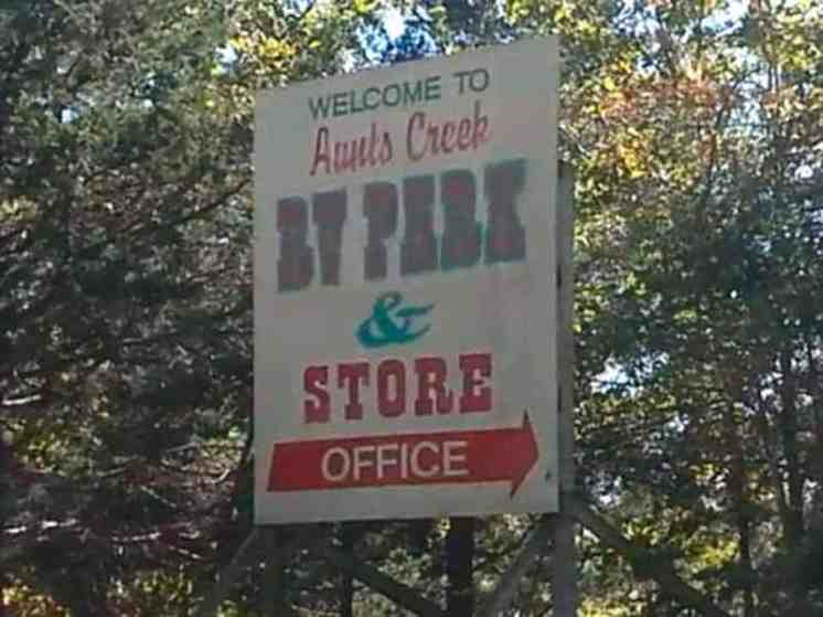 Aunts Creek RV Park in Branson West Missouri sign