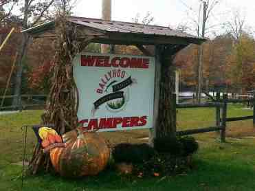 Ballyhoo Family Campground in Crossville Tennessee sign
