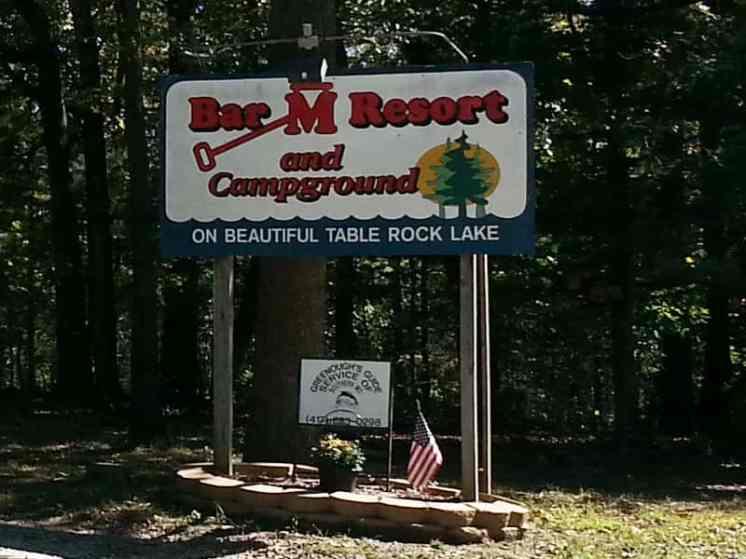 Bar M Resort & Campground in Branson West Missouri Sign