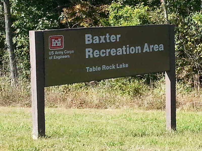Baxter Campground In Lampre Missouri Sign