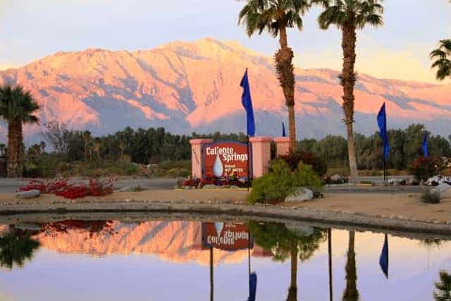 Caliente Springs RV Resort in Desert Hot Springs California Entrance Sign