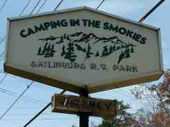 Camping In The Smokies/Gatlinburg RV in Gatlinburg Tennessee Sign