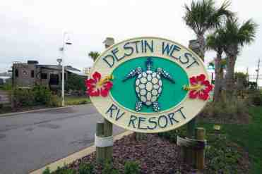 Destin West RV Resort in Fort Walton Beach Florida Sign