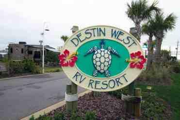 Destin West RV Resort in Fort Walton Beach Florida Sign