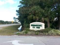 International RV Park and Campground in Daytona Beach Florida Sign