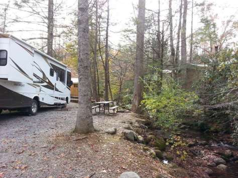 Great Smoky Jellystone Camp-Resort in Cosby Tennessee Creek Front Site