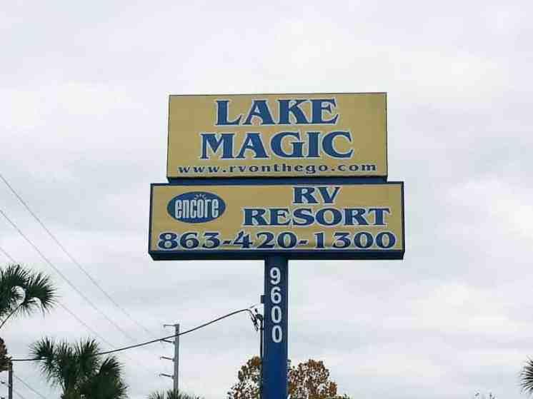Lake Magic RV Resort in Clermont Florida Sign