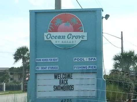 Ocean Grove RV Resort in Saint Augustine Florida Sign