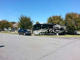 Pine Mountain RV Park by the River in Pigeon Forge Tennessee backin