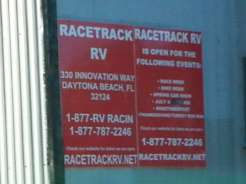 Racetrack RV Park in Daytona Beach Florida Sign