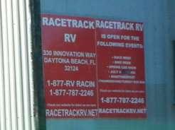 Racetrack RV Park in Daytona Beach Florida Sign