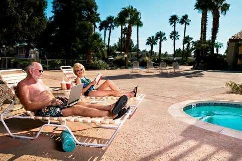 Sky Valley Resort in Desert Hot Springs California Relaxing Poolside