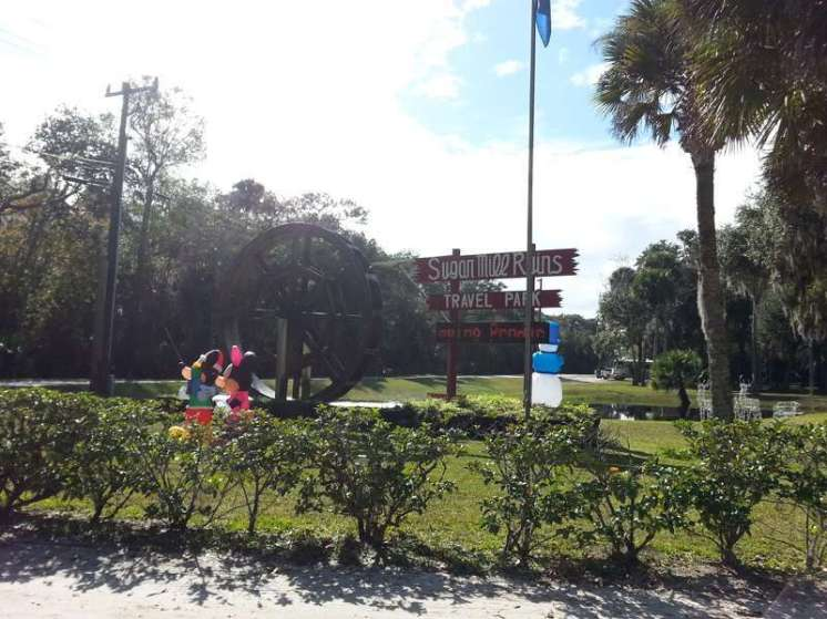 Sugar Mill Ruins Travel Park in New Smyrna Beach Florida Sign