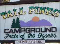 Tall Pines Campground in Branson Missouri Sign