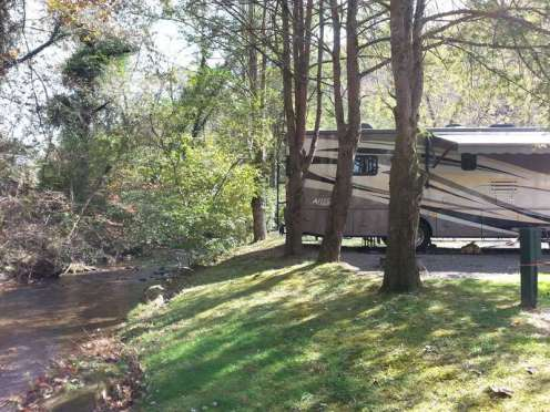 Twin Creek RV Resort in Gatlinburg Tennessee Backin by Creek