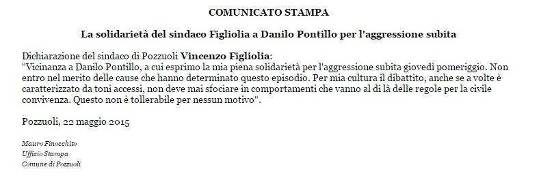 la nota stampa fatta diffondere dal sindaco Figliolia