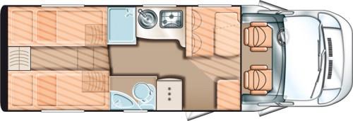 Solifer Action T 742 - Bobilen har 2 forhøyde enkelsenger bak for å gi plass til stor garasje