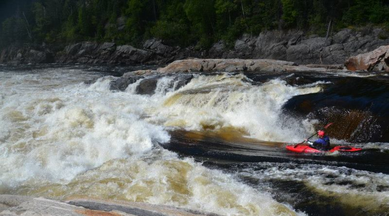 Jake Risch paddling a big rapid on the Moisie River in Quebec.