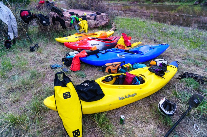 Boats, drybags, and beer -- critical ingredients for a kayak self-support.