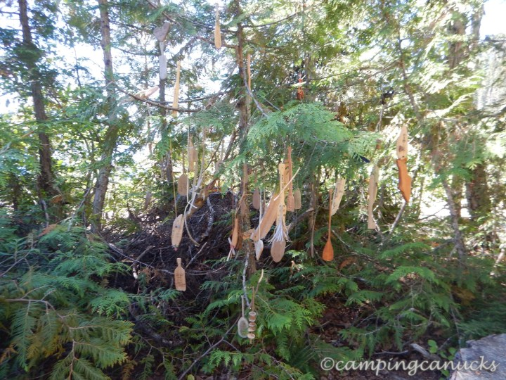 Wooden carvings at Birch Beach