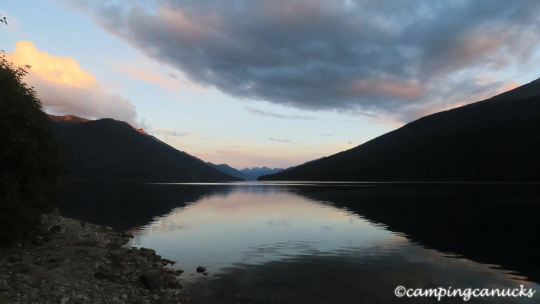 Night falls on Isaac Lake