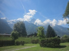 View across campsite towards Les Houches
