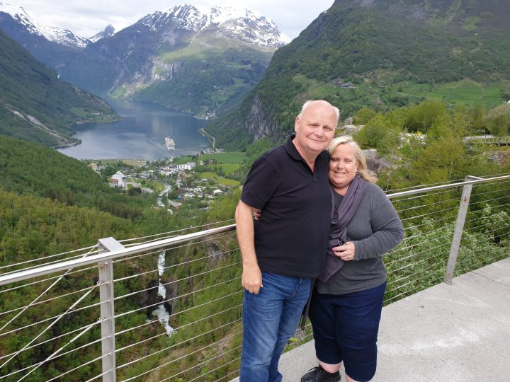 Flydalsjuvet Lookout down to Geiranger Norway