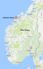 Location of the Atlantic Road Norway