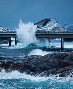 Danger on the Atlantic Road Norway