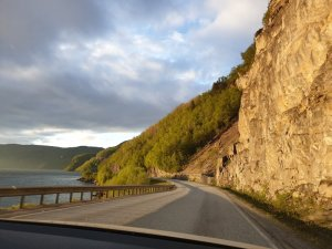 Midnight Sun Norway along the road south of Bodo