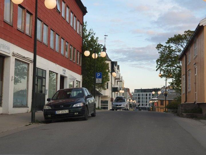 Svolvær town in Lofoten Islands during the midnight sun